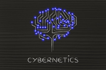 microchip circuit brain with led lights, caption cybernetics