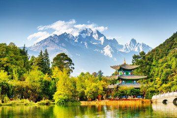 Wall Murals China Scenic view of the Jade Dragon Snow Mountain, China