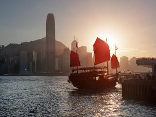 Traditional Chinese sailing ship with red sails, Hong Kong