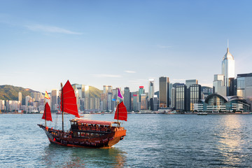 Sailing ship and skyscrapers in downtown of Hong Kong