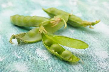 Fresh green pea pods