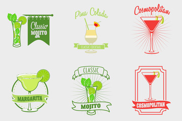 Set of mojito, margarita, pina colada and cosmopolitan cocktails logos, labels and bages