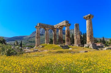 Apollo temple ruins in Ancient Corinth