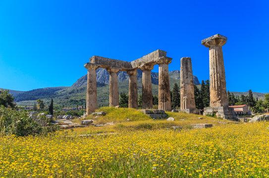 Apollo temple ruins in Ancient Corinth, Greece