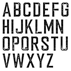 Vintage retro typeface. Stamped alphabet, scratched. Isolated on