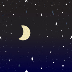 Night sky. The sky vector. Starry Sky. Moon in the sky.