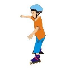 little boy in blue helmet rollerblading