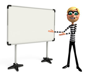3D Rendered illustration of slim Thief with white board