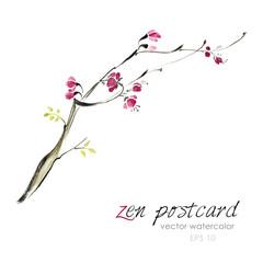 Chinese painting - zen-like natural hand-made vector watercolor sakura illustration