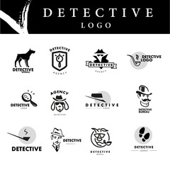 Hand drawn man portrait. Vector simple flat detective logo isolated on white background.