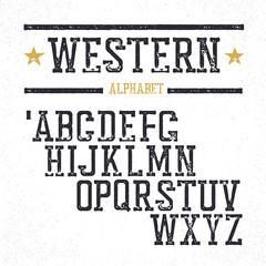Vintage western alphabet. Stamped serif letters. Grunge style, r
