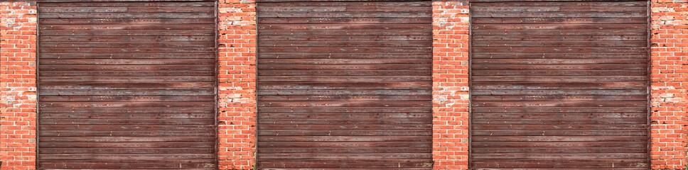 fence brick and wood panorama