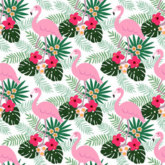 Tropical jungle seamless pattern with flamingo bird, hibiscus and plumeria flowers and palm leaves, flat design, vector