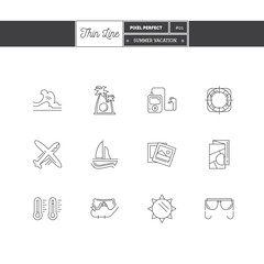 Thin line icon set of vacation summer travel, summer holiday, ob