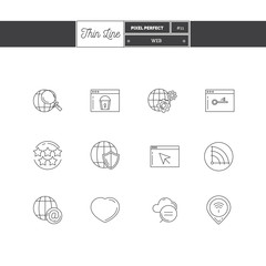 Thin line icon set of global connection, objects and tools eleme