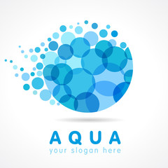 Aqua water drop logo. Mineral natural water vector icon design