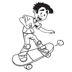 simple black and white boy on skate