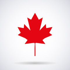 Canadian maple leaf red icon isolated on a white background, stylish vector illustration for web design