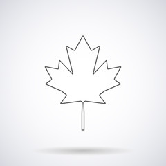 Canadian maple leaf icon silhouette with shadow,isolated on a white background, vector illustration stylish for web design