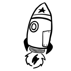 simple black and white rocket