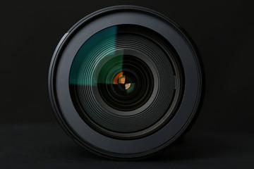 Camera Lens on the black background