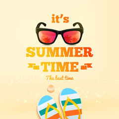 Summer poster. It's Summer Time typographic inscription with sunglasses, pair of flip-flops, shell. Summer background