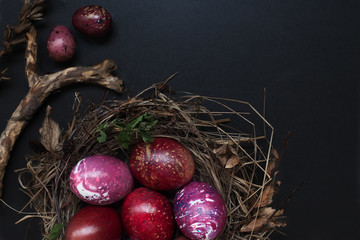 Still life of red chicken and quail eggs on black wooden background