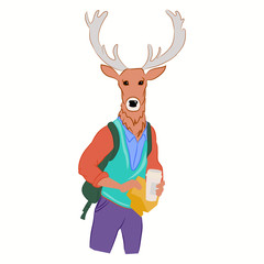 Hand drawn illustration of deer man with horns dressed up in fashionable style. Deer dressed in cool clothes. Fashion animal design. Deer boy hipster with coffee. Vector poster. Magazine fashion look