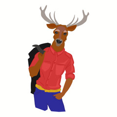 Hand drawn illustration of deer man with horns dressed up in fashionable style. Deer dressed up in cool clothes. Fashion animal design. Deer boy hipster. Vector creative poster. Magazine fashion look