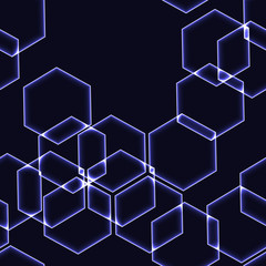 Very dark seamless background with light blue hexagons