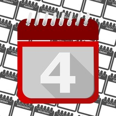 Red Calendar - Vector Icon number 4