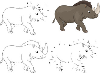 Cartoon prehistoric rhinoceros. Coloring book and dot to dot gam