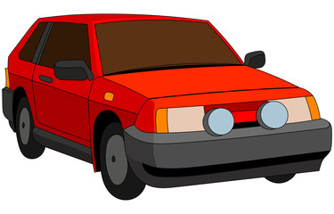 Cartoon Russian famous red car with tinted windows.