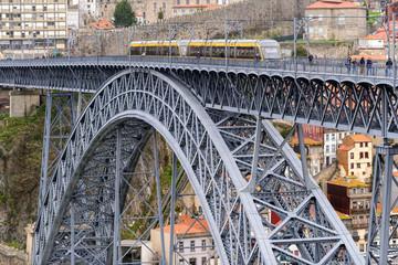 A train on the Dom LuisI Bridge, Porto
