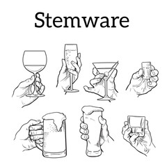 The hand holds a glass with alcohol. Drinks - champagne, beer, tequila, cocktail. Set with izobrezheniem hands and alcohol. The concept of alcohol consumption and of a good evening. . Sketch