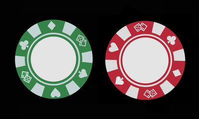 Green and red gaming chips on a clean black background.