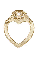 Gold heart picture frame isolated on white with clipping path.