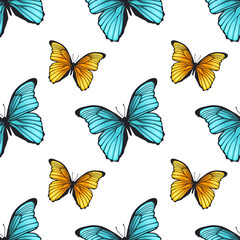 Seamless pattern with bright butterflies