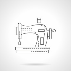 Old manual sewing machine flat line vector icon