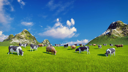 Wall Mural - Herd of dairy cows graze on a verdant alpine pasture at sunny day. Mountain peaks on the background. Realistic 3D illustration.
