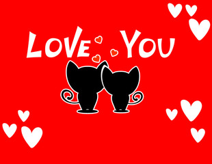 Cute cartoon animals couple fall in love, vector illustration.