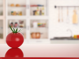 tomato on counter with kitchen background
