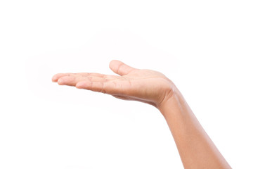 woman hand or palm showing up something