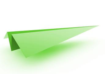 3D Papierflugzeug grün