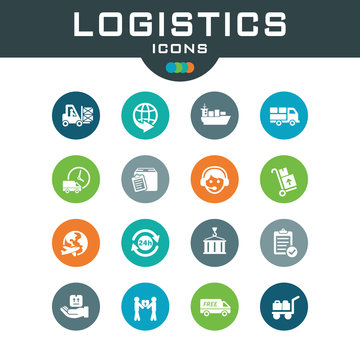 Vector set logistics icons.