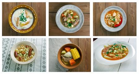 Food set of different l soups.