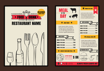 Brochure or poster Restaurant  food menu with Background vector