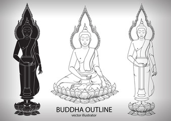 thai buddha sitting Outline Silhouettes black and white