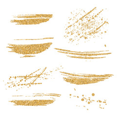 Vector gold paint smears set. Gold glitter element on white background. Gold shiny paint stroke. Abstract gold glitter dust. Gold glittering paint stains.