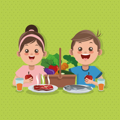 Illustration of kids menu, vector design, food and nutrition related
